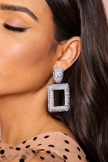 Grey diamante drop square earrings