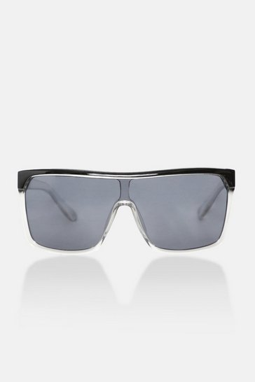 Crystal flat top curved lens sunglasses