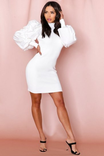 White extreme ruffle sleeve dress