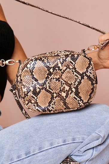 Brown snakeskin crossbody bag
