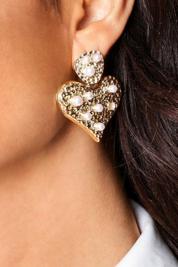Gold pearl detail heart earrings