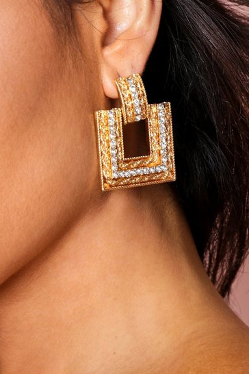 Gold diamante square drop earrings