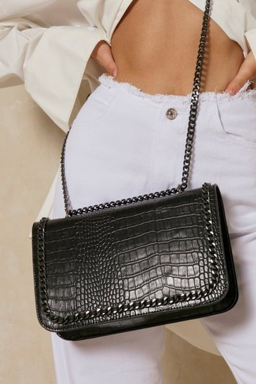 Black croc chain detail shoulder bag