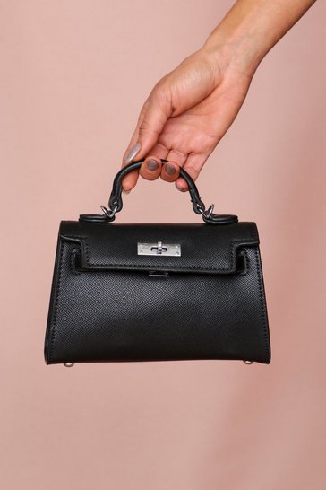 Black structured mini cross body bag