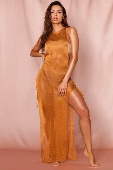 Orange Metallic Knitted Tie Side Beach Maxi Dress