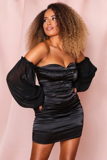 Black Satin Ruched Mini Dress With Balloon Sleeve