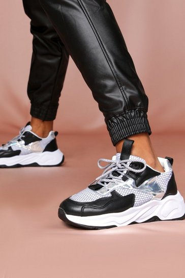 Black Net Detail Panelled Chunky Sneakers