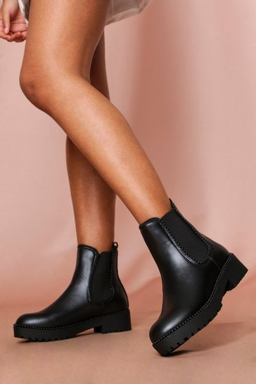 Black studded chelsea ankle boot