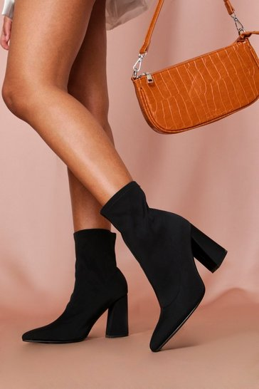 Black stretch sock ankle boot