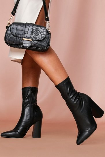 Black pointed toe sock ankle boot