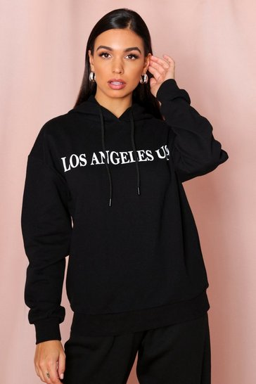 Black Los Angeles Slogan Hooded Sweatshirt