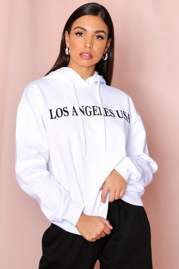 White Los Angeles Slogan Hooded Sweatshirt