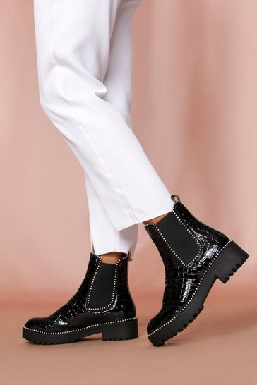 Black croc studded chelsea ankle boot