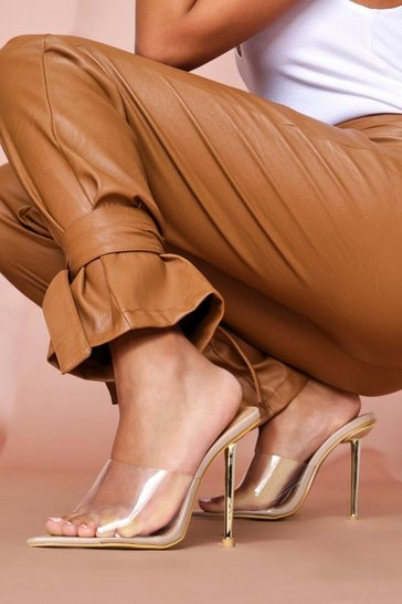 Nude metal heel clear heeled mules