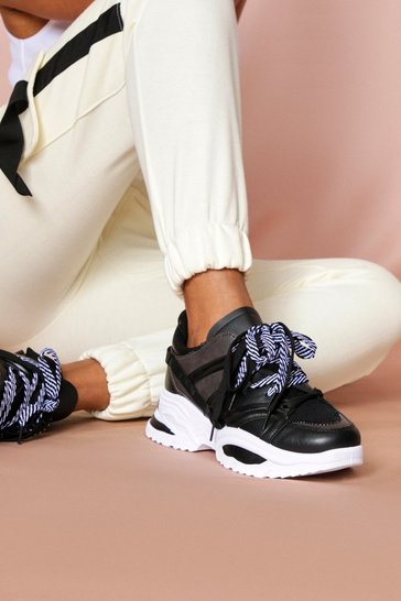 Black lace up chunky trainers