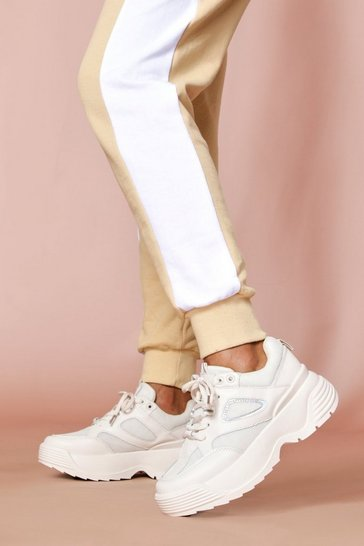 Beige chunky sole panelled trainers