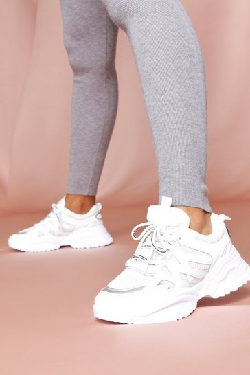 White contrast detail chunky trainer