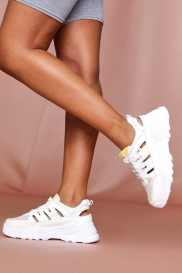 White contrast panelled chunky trainers