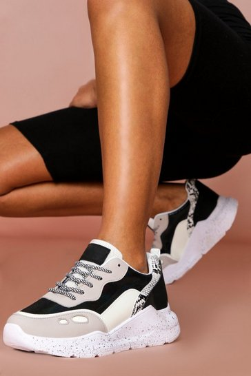 Black contrast panelled chunky sole trainers