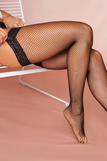 Black fishnet lace stockings
