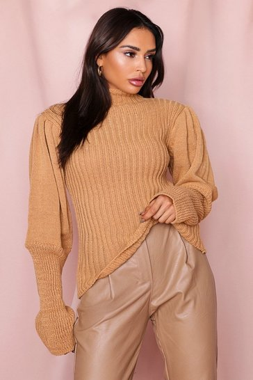 Camel High Neck Jumper