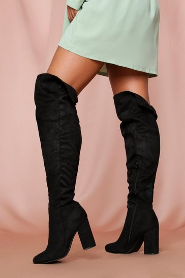 Black Thigh High Block Heeled Boots
