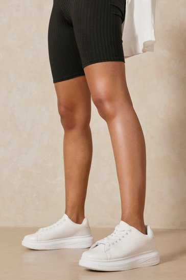 White Basic Platform Sneakers