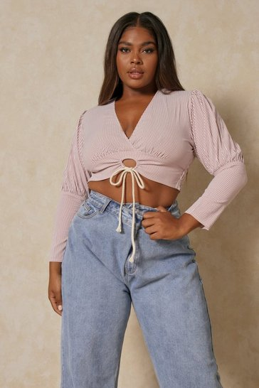 Rose pink Striped Puff Shoulder Wrap Top