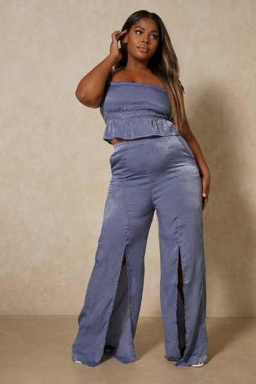 Dusty blue Hammered Satin Split Front Pants