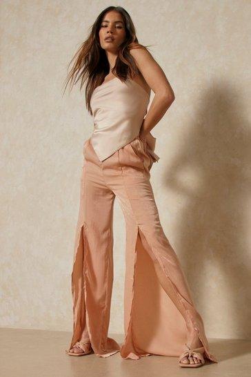 Nude Hammered Satin Split Front Trousers