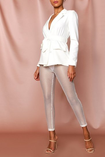 White metallic fishnet trousers