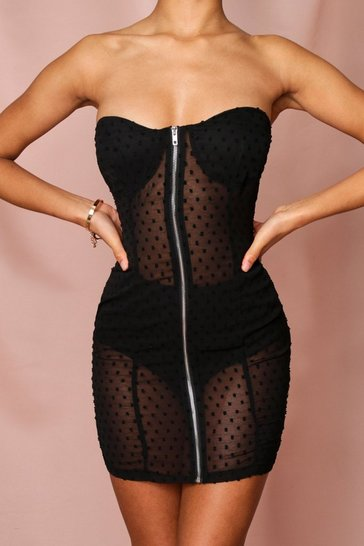 Black dobby mesh spotty zip front bandeau dress