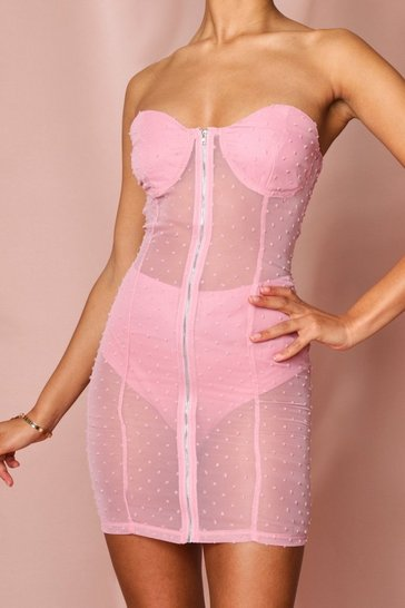 Pink dobby mesh spotty zip front bandeau dress