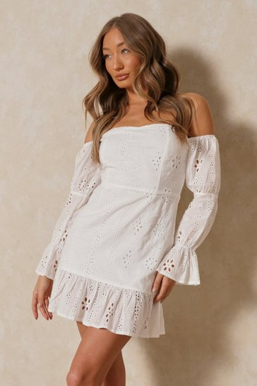 White Broderie Anglaise Puff Shoulder Bardot Dress