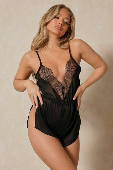 Black chiffon lace sheer teddy