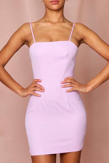 Lilac Lace Up Back Square Neck Dress