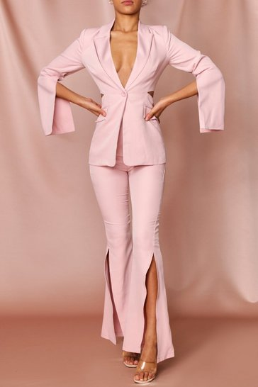 Rose pink open back longline blazer