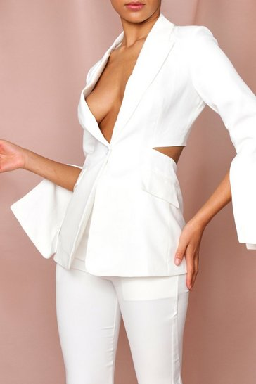 White open back longline blazer