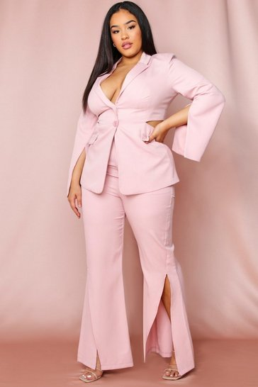 Rose pink Split Front Flared Leg Trousers
