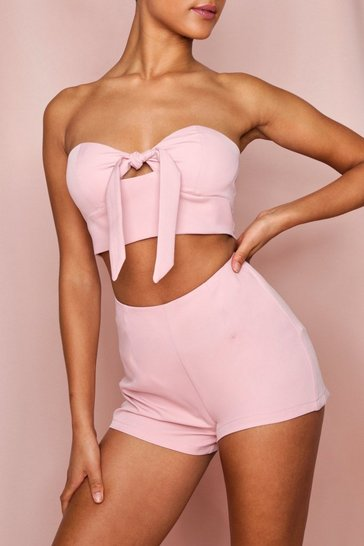 Rose pink Tie Front Cuppped Top And Short Co-ord Set