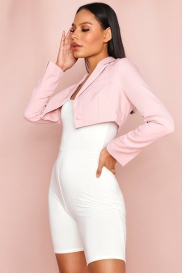 Rose pink Cropped Tailored Blazer