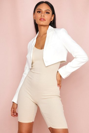 White Cropped Tailored Blazer