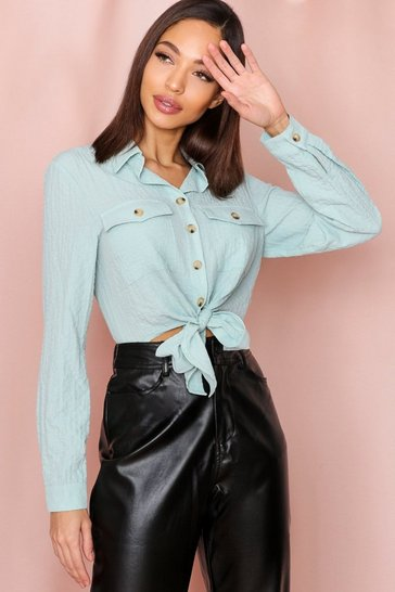 Mint textured pocket detail tie front shirt