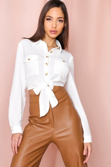 White textured pocket detail tie front shirt
