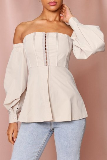 Stone Hook + Eye Front Bardot Top