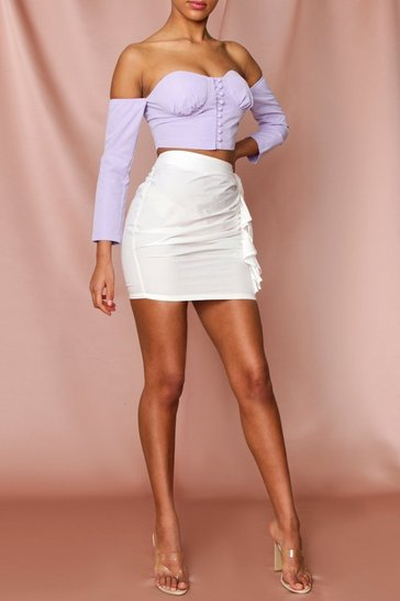 Lilac Ruched Cup Detail Button Front Top