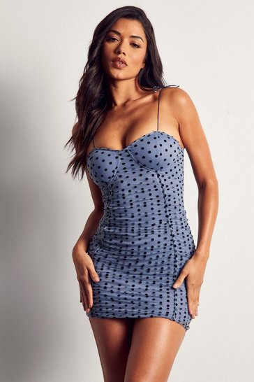 Blue Polka Dot Mesh Cupped Ruched Dress