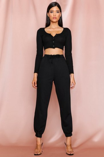 Black basic loop back jogger
