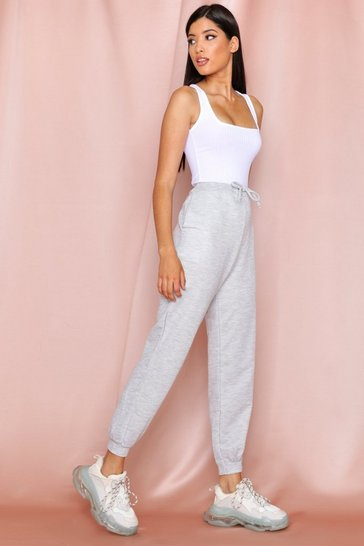 Grey marl basic loop back jogger