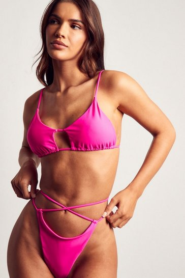 Pink strappy high leg bikini bottom